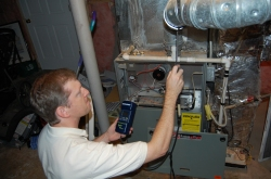 Checking the furnace for Carbon Dioxide leakage